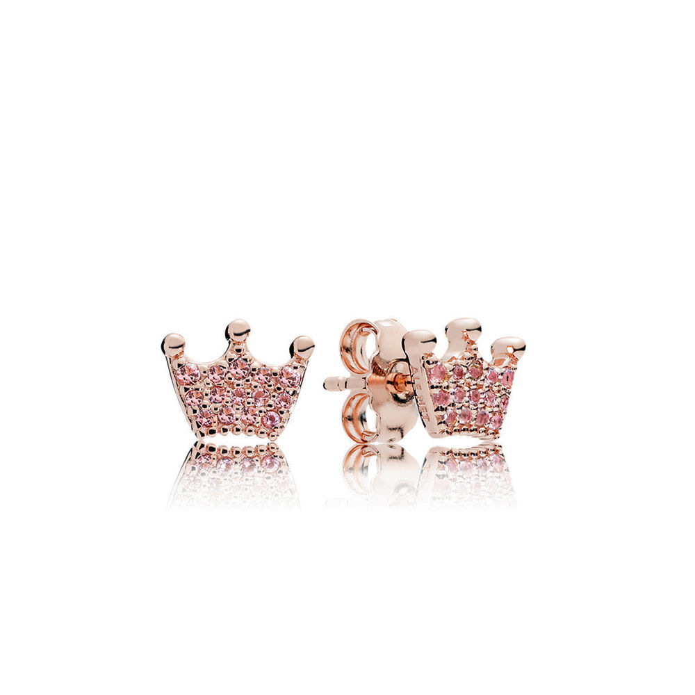 PANDORA 287127NPO Rose Enchanted Crown Stud Earrings