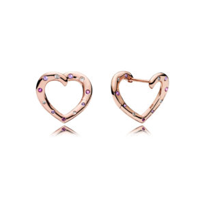 PANDORA Rose™ 287231NRPMX Bright Hearts Hoop Earrings