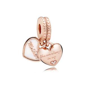 PANDORA Rose™ 782072EN23 Mother & Daughter Hearts Dangle Charm