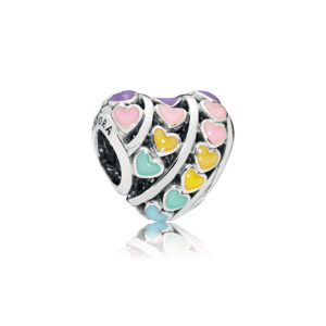 PANDORA 797019ENMX Multi-Color Hearts Charm